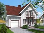 Одноэтажный дом с мансардой, гаражом, террасой и балконами